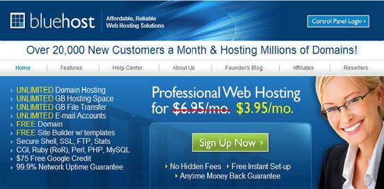 Bluehost主机 $3.95优惠码/优惠链接