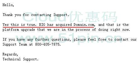 Domain确认已被EIG收购